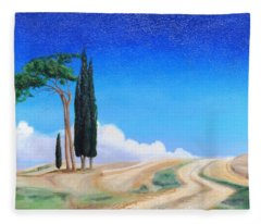 4 Trees, Picenza, Tuscany, 2002 Oil On Canvas Fleece Blanket