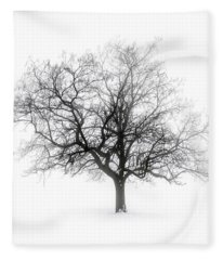 Winter Tree In Fog Fleece Blanket