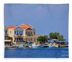 Colorful Symi Fleece Blanket