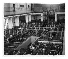 Ellis Island Immigrants Fleece Blanket