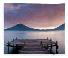 Jetty In A Lake With A Mountain Range Fleece Blanket