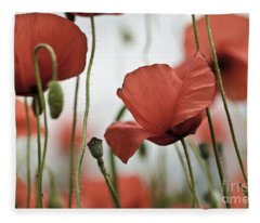 Red Poppy Flowers Fleece Blanket