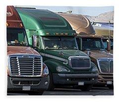 Semi Truck Fleet Fleece Blanket