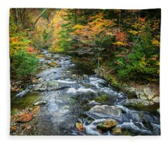 Stream Great Smoky Mountains Painted Fleece Blanket