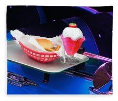 57 Chevy At A Drive-in Fleece Blanket