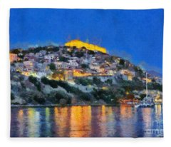 Molyvos Town In Lesvos Island Fleece Blanket