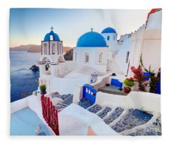 Oia Town On Santorini Greece Fleece Blanket