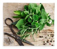 Kitchen Herbs Fleece Blanket