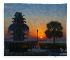 Pineapple Fountain At Dawn Fleece Blanket