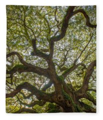 Island Angel Oak Tree Fleece Blanket