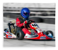 Racing Go Kart Fleece Blanket