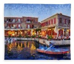 Molyvos Town In Lesvos Island Fleece Blanket