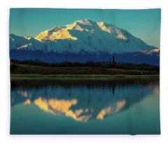 Panoramic View Of Mount Denali Fleece Blanket