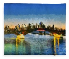 Sunset In Lefkada Town Fleece Blanket