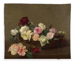 A Basket Of Roses Fleece Blanket