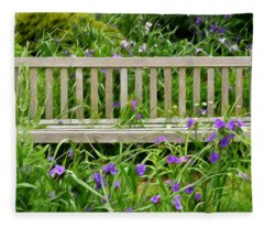 A Bench For The Flowers Fleece Blanket
