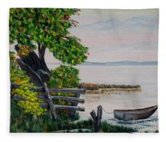 A Boat Waiting 2 Fleece Blanket