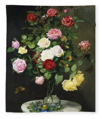 A Bouquet Of Roses In A Glass Vase By Wild Flowers On A Marble Table Fleece Blanket