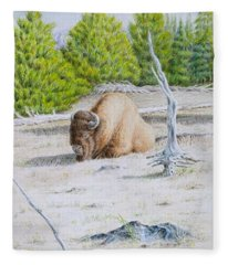 A Buffalo Sits In Yellowstone Fleece Blanket