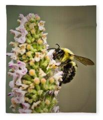A Bumble Bee Working Fleece Blanket