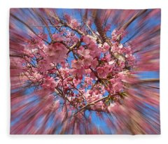 A Cherry Blossom Burst Fleece Blanket