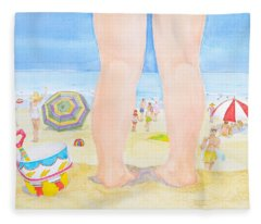 A Child Remembers The Beach Fleece Blanket