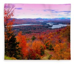 A Chilly Autumn Day On Mccauley Mountain Fleece Blanket