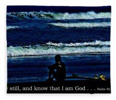 a contemplative surfer  - Psalm 46 - 10 Fleece Blanket