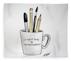 A Cup Of Tools To Express Freedom Fleece Blanket