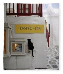 A Curious Cat In Mykonos Fleece Blanket