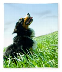 A Cute Dog On The Field Fleece Blanket