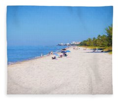 A Day At Naples Beach Fleece Blanket