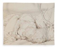 A Dead Stag Fleece Blanket