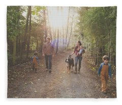 A Family Of Five With A Dog Enjoy Fleece Blanket