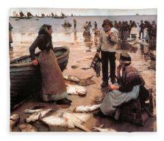 A Fish Sale On A Cornish Beach Fleece Blanket