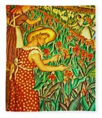 A Flower Harvest Fleece Blanket
