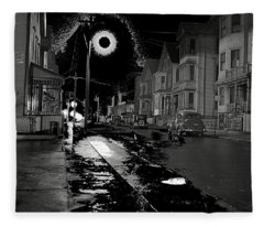 A Foggy Night  New Bedford Massachusetts Jack Delano Photo New Bedford Massachusetts Fall 1940-2013 Fleece Blanket