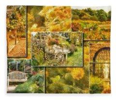 A Garden Collage Photo Art Fleece Blanket