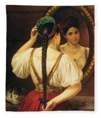 A Girl At The Mirror, 1848 Oil On Canvas Fleece Blanket