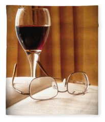A Good Book And A Glass Of Wine Fleece Blanket