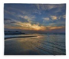 a joyful sunset at Tel Aviv port Fleece Blanket