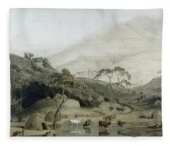 A Kaffir Village, C.1801 Wc & Graphite On Paper Fleece Blanket
