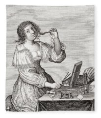 A Lady At Her Toilette, After A 17th Century Engraving By Le Blond.  From Illustrierte Fleece Blanket