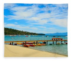 A Lake Tahoe Pier View Fleece Blanket