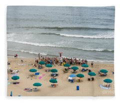 A Lifeguard Gives A Safety Briefing To Beachgoers In Ocean City Maryland Fleece Blanket