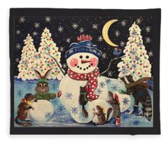 A Magical Night In The Snow Fleece Blanket