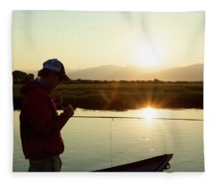 A Man Fishes The Teton River Fleece Blanket