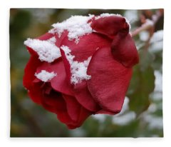 A Passing Unrequited - Rose In Winter Fleece Blanket