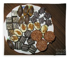 A Plate Of Chocolate Sweets Fleece Blanket