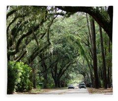 A Pretty Tree Covered Road Somewhere On Hilton Head Island Fleece Blanket